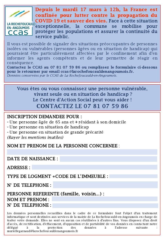 Ccas formulaire recensement personnes vulnerables covid19 mars 2020